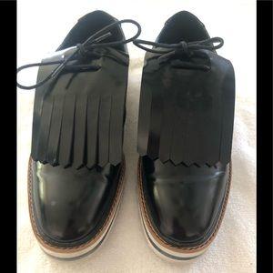 Zara Basic Patent Leather Platform Loafers 10(40)
